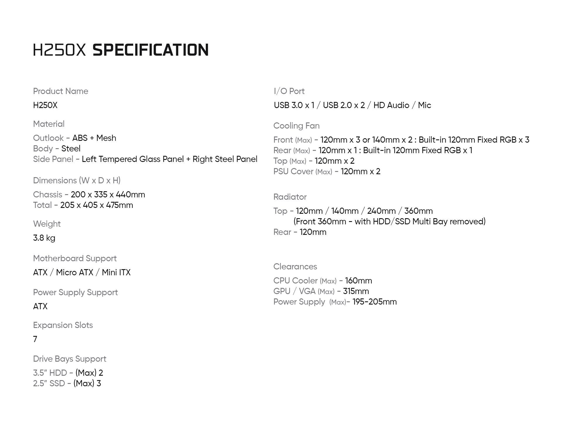 Caja de torre mediana Helios 250X descripción especificaciones