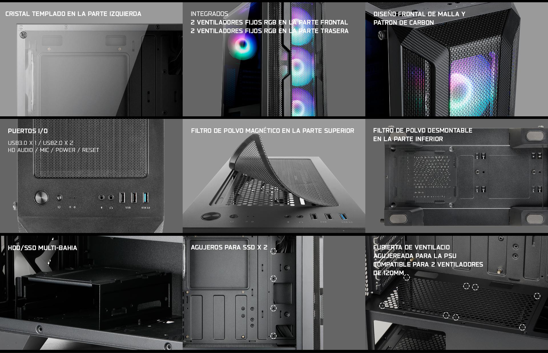 Caja de torre mediana Helios 250X descripción