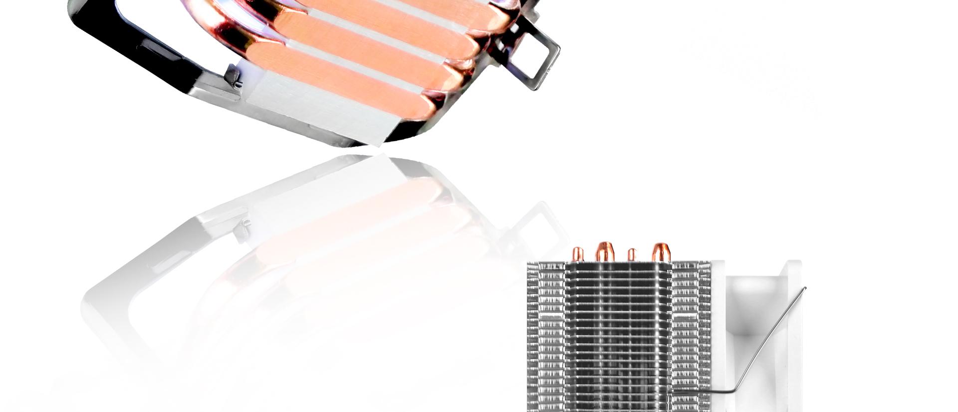 CPU Cooler T405 en color blanco descripción tubos de calor