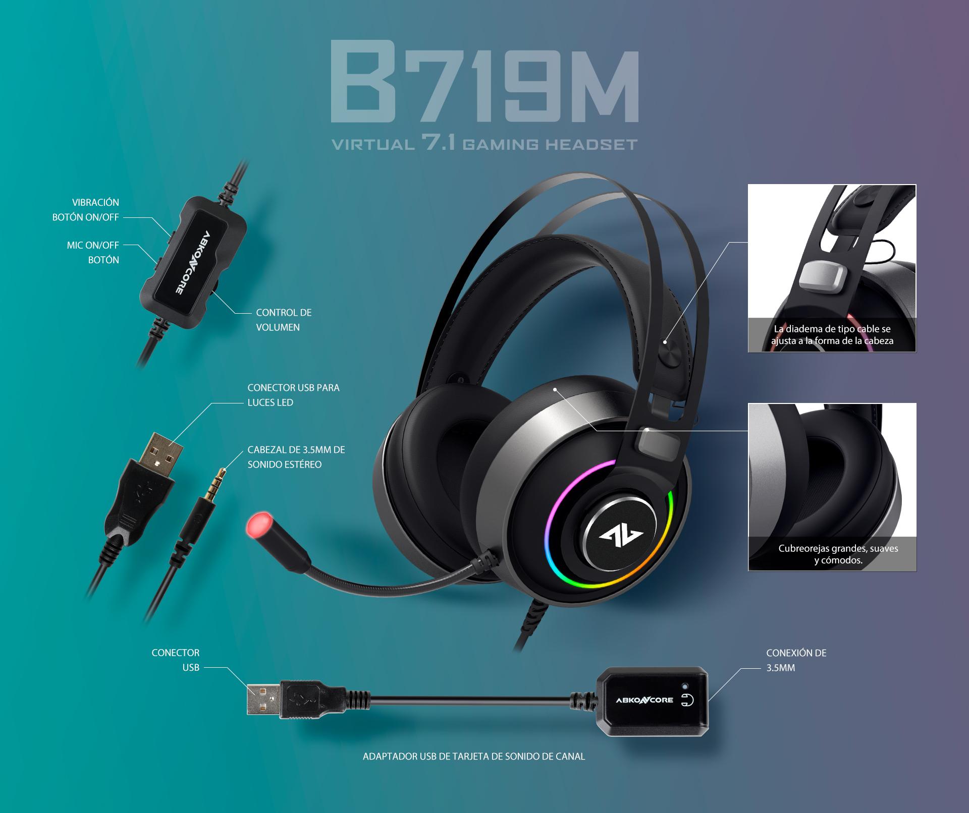 Auriculares B719M 7.1 Virtual imagen descripción