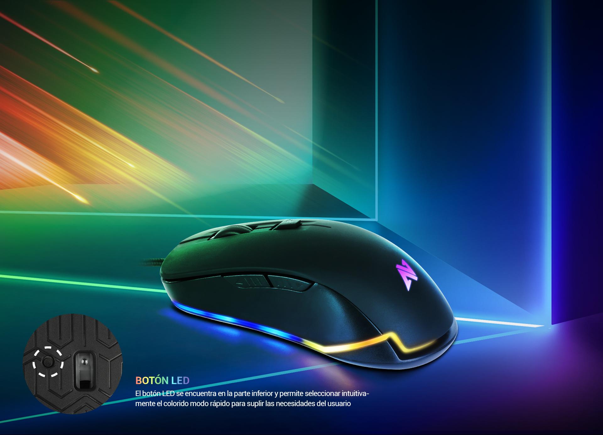 Ratón Gaming Astra AM8 imagen descripción Colores Led