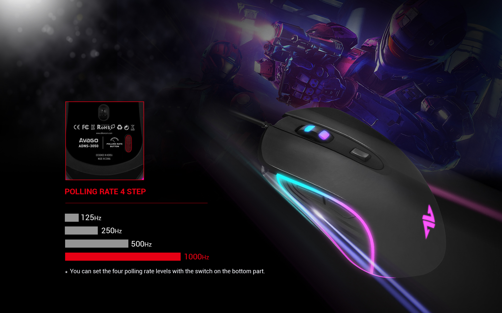 Ratón Gaming Astra M30 imagen descripción 4 niveles de ajuste