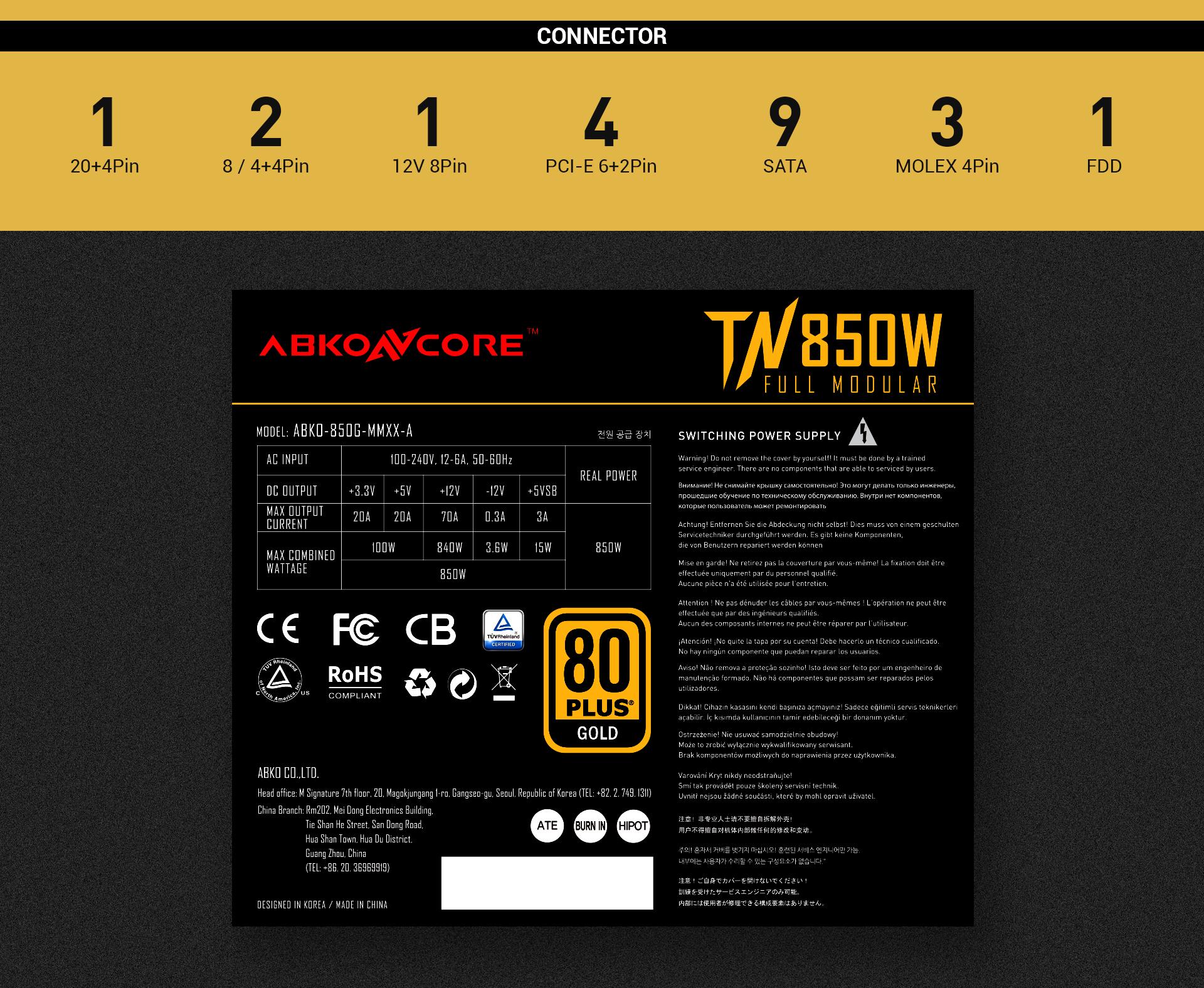 Fuente de alimentación TN850W Gold Modular imagen descripción especificaciones